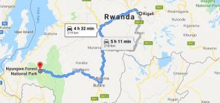 Distance from Kigali to Nyungwe